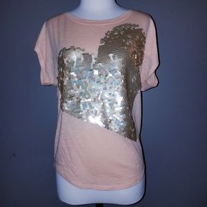 Express Sequin Heart Top-XS